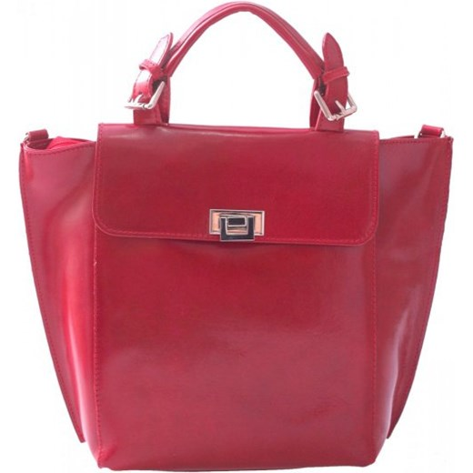 80d294d7dd057 Elegancka Torebka Skórzana kuferek do ręki z dł. paskiem czerwona torbs-pl  czerwony