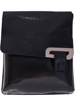 Klasyczna Listonoszka Skórzana Włoskiej firmy Vera Pelle czarna torbs-pl czarny  - kod rabatowy