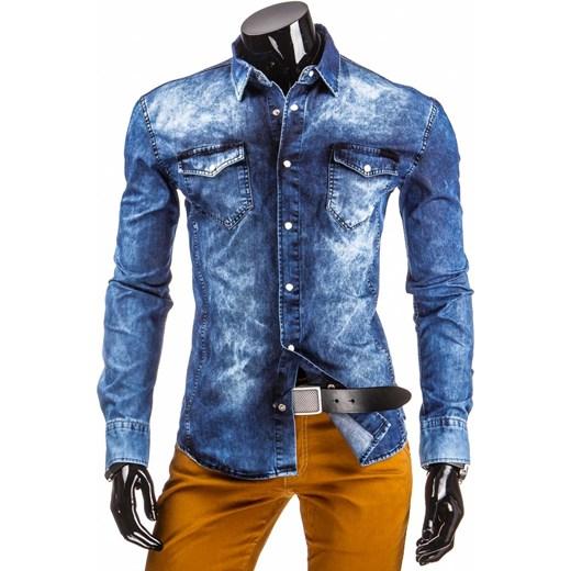 Jeansowa koszula przecierana (dx0818) dstreet niebieski  VFiqI