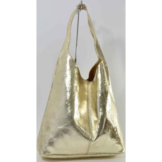32f1fbca3bb37 Skórzana złota torebka worek cervandone-pl szary łatki w Domodi