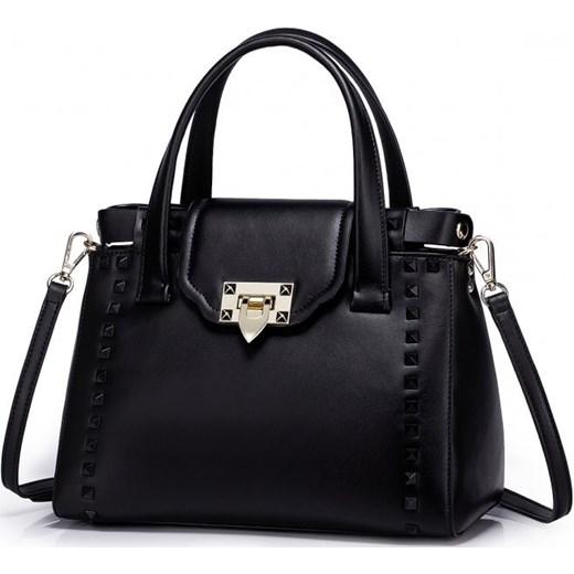 b0e4d7c6f23e3 ... NUCELLE Kolorowa skórzana torebka z ćwiekami Czarna etorba-pl czarny  casual ...