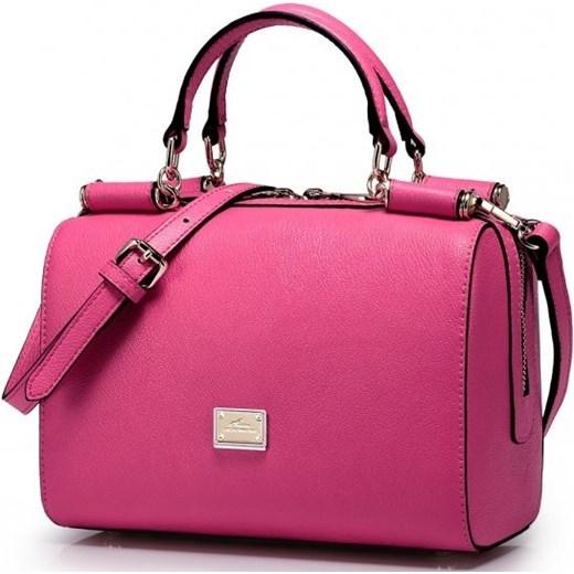 d0e31b6c23e1a ... NUCELLE Mała skórzana torebka damska Różowa etorba-pl rozowy na ramię  ...