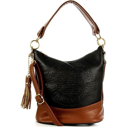 9d0e8143cee50 BEIYANI TE1404 czarno - brązowa torebka damska ze skóry ekologicznej worek  skorzana-com bialy casual