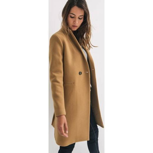 851f702a3dbbe Promod Wełniany płaszcz damski promod-pl brazowy guziki w Domodi