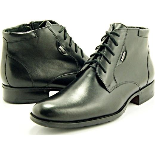 143d19ea 2371 CZARNE - Wysokie, eleganckie, skórzane buty męskie  sklep-obuwniczy-kent szary jesień LP w Domodi