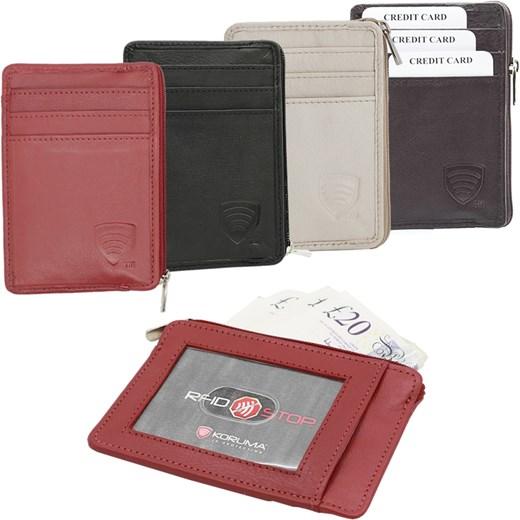 2ea31dd364b3a Góra Mały skórzany portfel na karty zamykany zamek - RFID STOP od FY-78