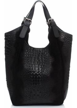 Włoska Torba Skórzana Vera Pelle czarna torbs-pl czarny elegancki - kod rabatowy