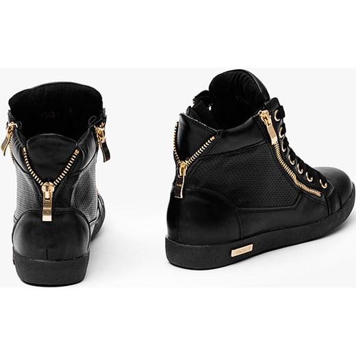 557f82a40a8fe6 Sneakersy ze złotym suwakiem Czarne Trampki merg-pl czarny młodzieżowy w  Domodi