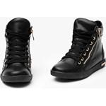 c817fa0da7cb4f Sneakersy ze złotym suwakiem Czarne Trampki merg-pl czarny sznurówki