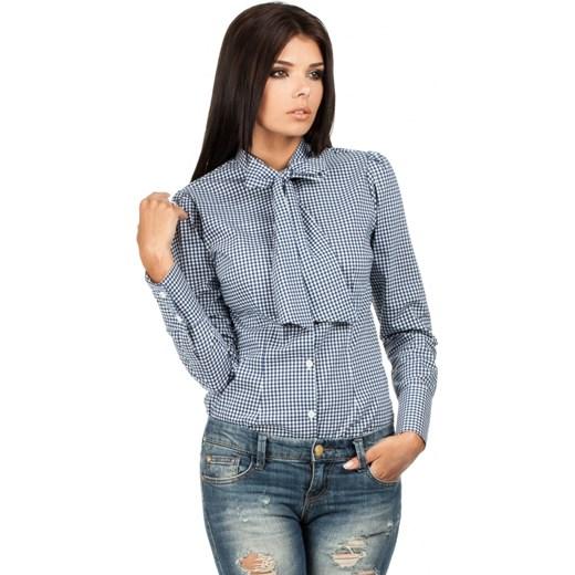 45122d9c9f5fef Koszula w Granatową Kratkę z Wiązaną Kokardą molly-pl niebieski w Domodi
