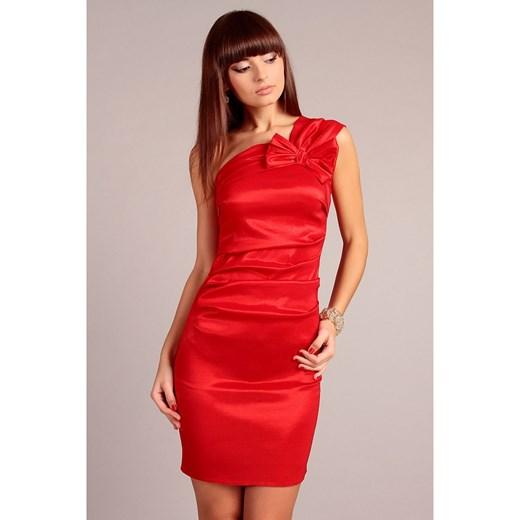 8008912015 Czerwona Wieczorowa Sukienka na Jedno Ramie z Kokardą molly-pl czerwony