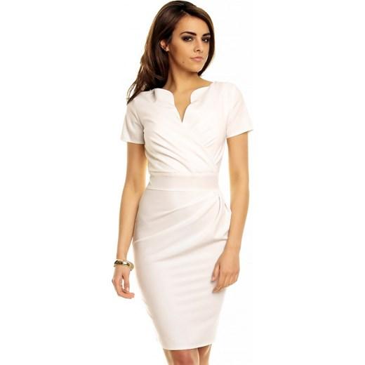 a2982b88c0 Kremowa Elegancka Sukienka z Założeniem Kopertowym molly-pl bezowy elegancki