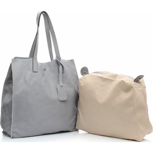 d80837029b946 Torba Skórzana Shopper Bag z Kosmetyczką Szara torbs-pl bezowy casual