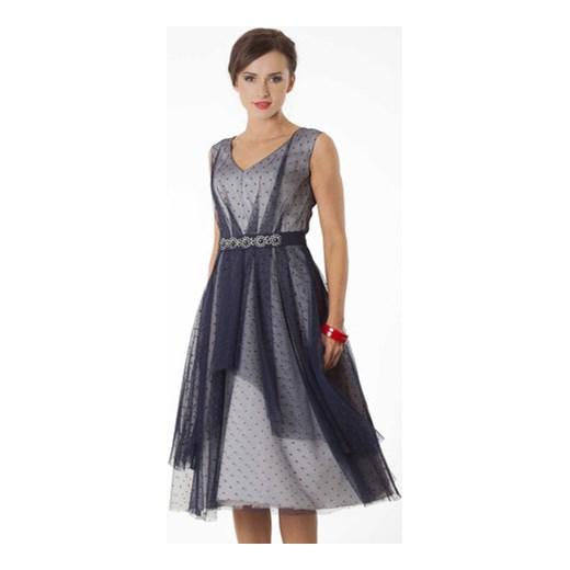 f19b2f81a132 Sukienka Ariadna granatowy tiul na popielatej satynie semper łatki w ...