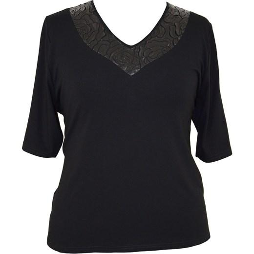 eb8b27fd5ee8f3 Czarna bluzka wizytowa rękaw krótki modne-duze-rozmiary czarny Bluzki z  krótkim rękawem w Domodi