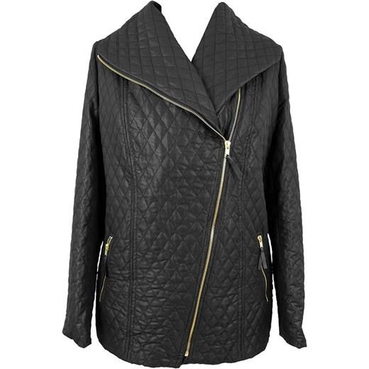 a11b4c786886c Czarna pikowana kurtka z suwakiem modne-duze-rozmiary szary elegancki