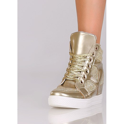 967d8f55569a1 ... Wysokie złote sneakersy na koturnie stukstuk-pl bezowy Wysokie trampki  damskie ...