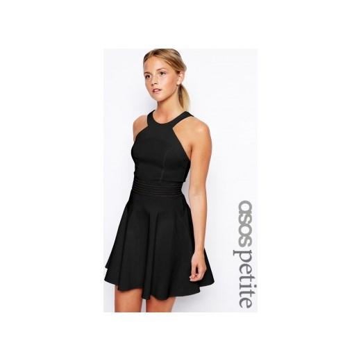 6adc34668747 ASOS PETITE Sukienka rozkloszowana czarna odkryte ramiona sklep-divine-wear  czarny mini