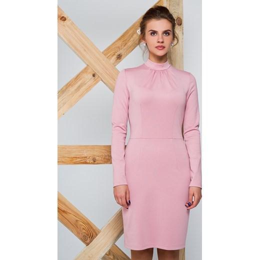 7102dae7ed Styliowa sukienka z dzianiny karmazynowy the-cover rozowy dopasowane ...