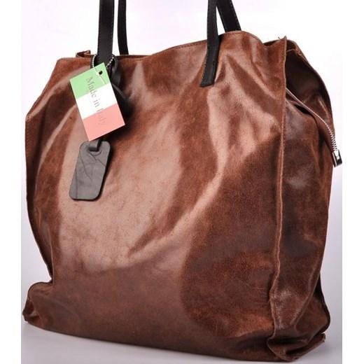 b5f6d98d5c944 ... MADE IN ITALY Cucito 014 brązowa włoska torebka skórzana shopper bag  skorzana-com czerwony na ...