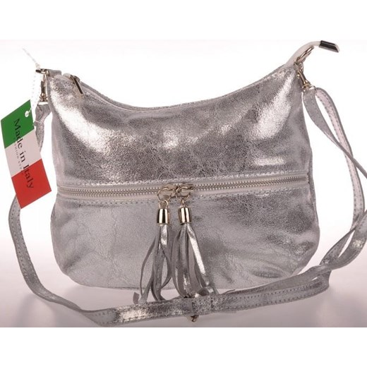 5a5b960db589b MADE IN ITALY Postino 128 włoska torebka skórzana listonoszka srebrna  skorzana-com brazowy casual