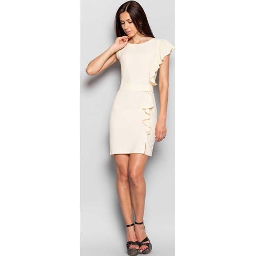 dd3d225817 ... bezowy elegancki  Elegancka damska sukienka z oryginalnym rękawem  kremowy the-cover bezowy na imprezę ...