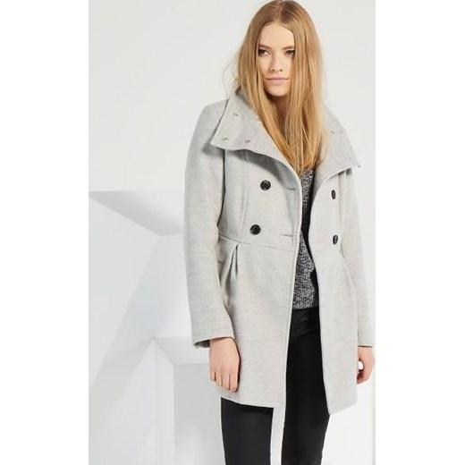 Volumen groß Abstand wählen Luxus Dwurzędowy płaszcz z paskiem reserved szary jesień