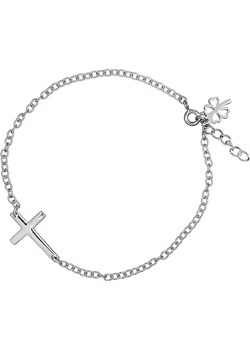 Bransoletka Cross finery bialy srebrna - kod rabatowy