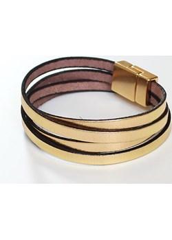 Podwójna bransoletka z cienkiego rzemyka finery zolty metal - kod rabatowy