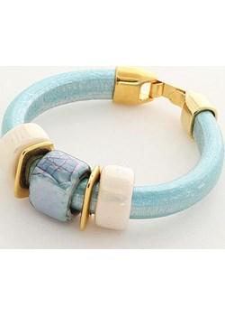Bransoletka z grubego rzemyka błękitna finery bezowy metal - kod rabatowy