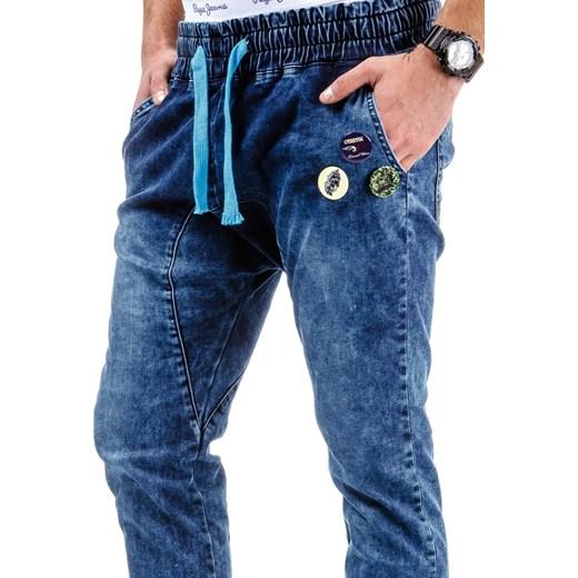 7b3b6e004a8d1a ... Spodnie joggery męskie granatowe (ux0476) dstreet niebieski ściągacz ...