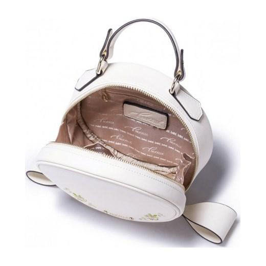 de256ab8bec13 ... Nucelle Mała okrągła skórzana torebka écru stylowagalanteria-com rozowy  z kieszeniami