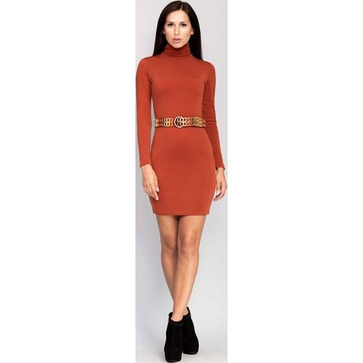 4a682c6af8 ... Elegancka sukienka z kołnierzem rudy the-cover pomaranczowy mini ...