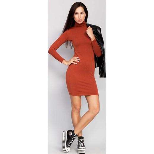 496c194f6a ... pomaranczowy mini  Elegancka sukienka z kołnierzem rudy the-cover  czerwony z golfem ...