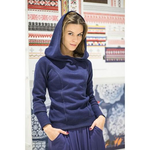 c37daaee041622 sweter CALL ME PRINCESS granat showroom-pl granatowy Bluzy z kapturem  damskie w Domodi