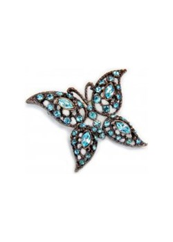 Broszka motyl turkusowy kiara-sztuczna-bizuteria-jablonex  ażurowe - kod rabatowy