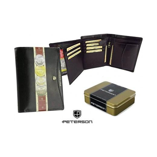 6cf207b650317 Elegancki skórzany portfel męski PETERSON Czarny stylowagalanteria-com  bialy miejsce na karty kredytowe ...