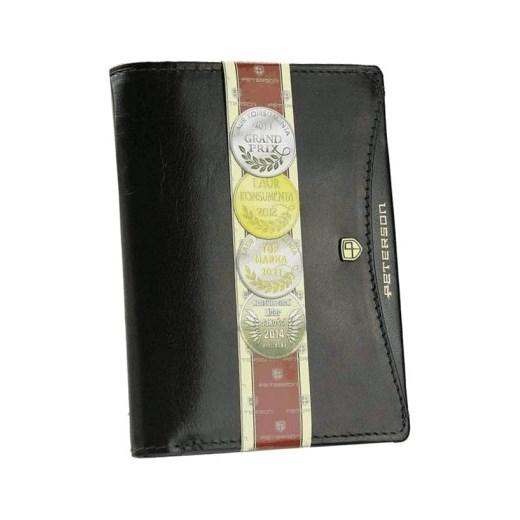3d5a05158c497 ... miejsce na karty kredytowe  Elegancki skórzany portfel męski PETERSON  Czarny stylowagalanteria-com szary bez wzorów ...