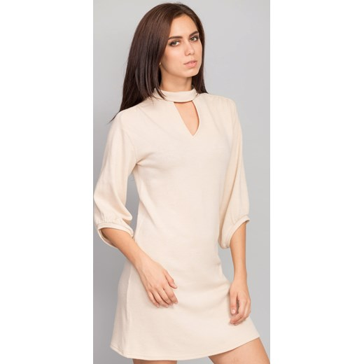 4e65723cb7 Sukienka z dekoltem w kształcie litery V beige the-cover bezowy dopasowane  ...
