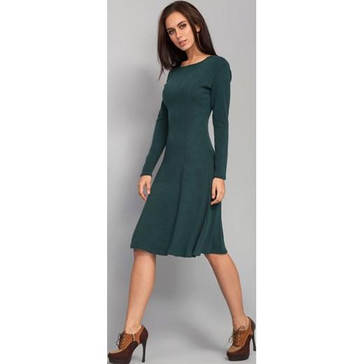 9d2b7b2b55 ... Ciepła elegancka sukienka o długości poniżej kolan zielony the-cover  szary rozkloszowane ...