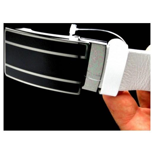 5dd106e062698f Pasek Męski Biały Skórzany PAS-MAX Gładki z Pełną Klamrą Automat  Samozaciskowy Skóra licowa 35 mm Czarna klamra torebunie bialy elegancki w  Domodi