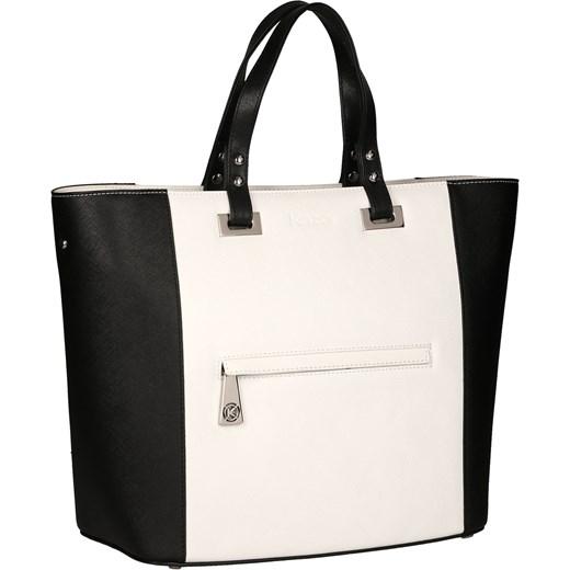 7f578490fd30d Biało-czarna torebka do ręki kazar-com bezowy elegancki w Domodi