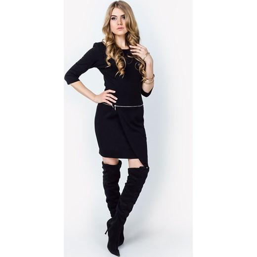 b011f3e48e Sukienka z asymetryczną zakładką i zamkiem zoio-pl czarny mini w Domodi