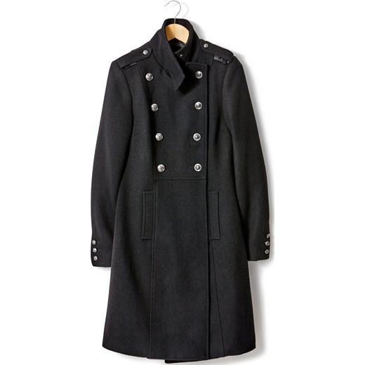 Płaszcz ze stójką, w wojskowym stylu, 50% wełny la redoute pl szary