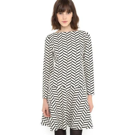 6fde3519c3 Czarno-biała żakardowa sukienka la-redoute-pl szary dzianina w Domodi