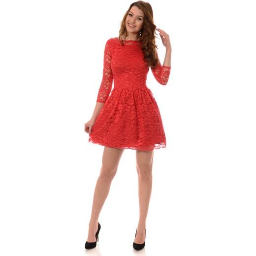 db842243bd ... Rozkloszowana Sukienka Koronkowa Czerwona brendi-pl czerwony boho ...