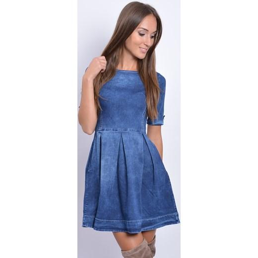 9cb6142aae Sukienka jeansowa rozkloszowana w zakładki cocomoda-pl niebieski mini