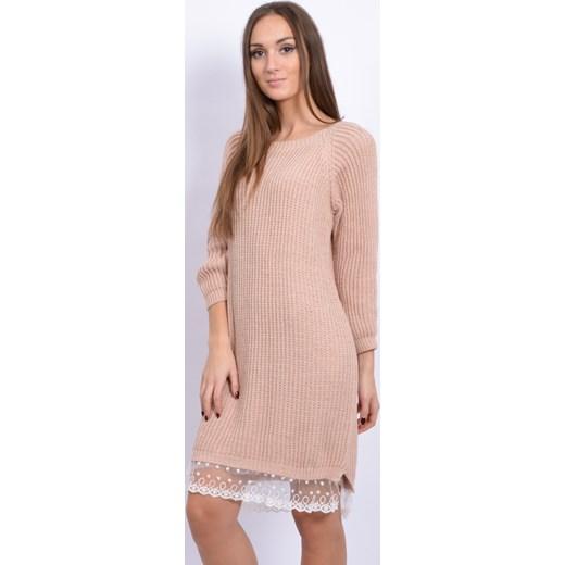 4b0329d28a ... Sukienka swetrowa z białą koronką pudrowy róż cocomoda-pl bezowy długie  ...