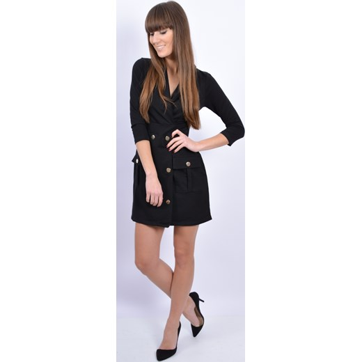 0764eb75e2 ... Sukienka dzianinowa dwurzędowa czarna cocomoda-pl rozowy na co dzień