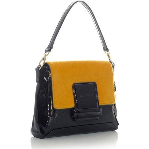 0e9706e9a903a MONNARI Lakierowana torebka damska czarny z żółtym koniem verostilo zolty  glamour